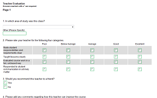 teacher evaluation survey template